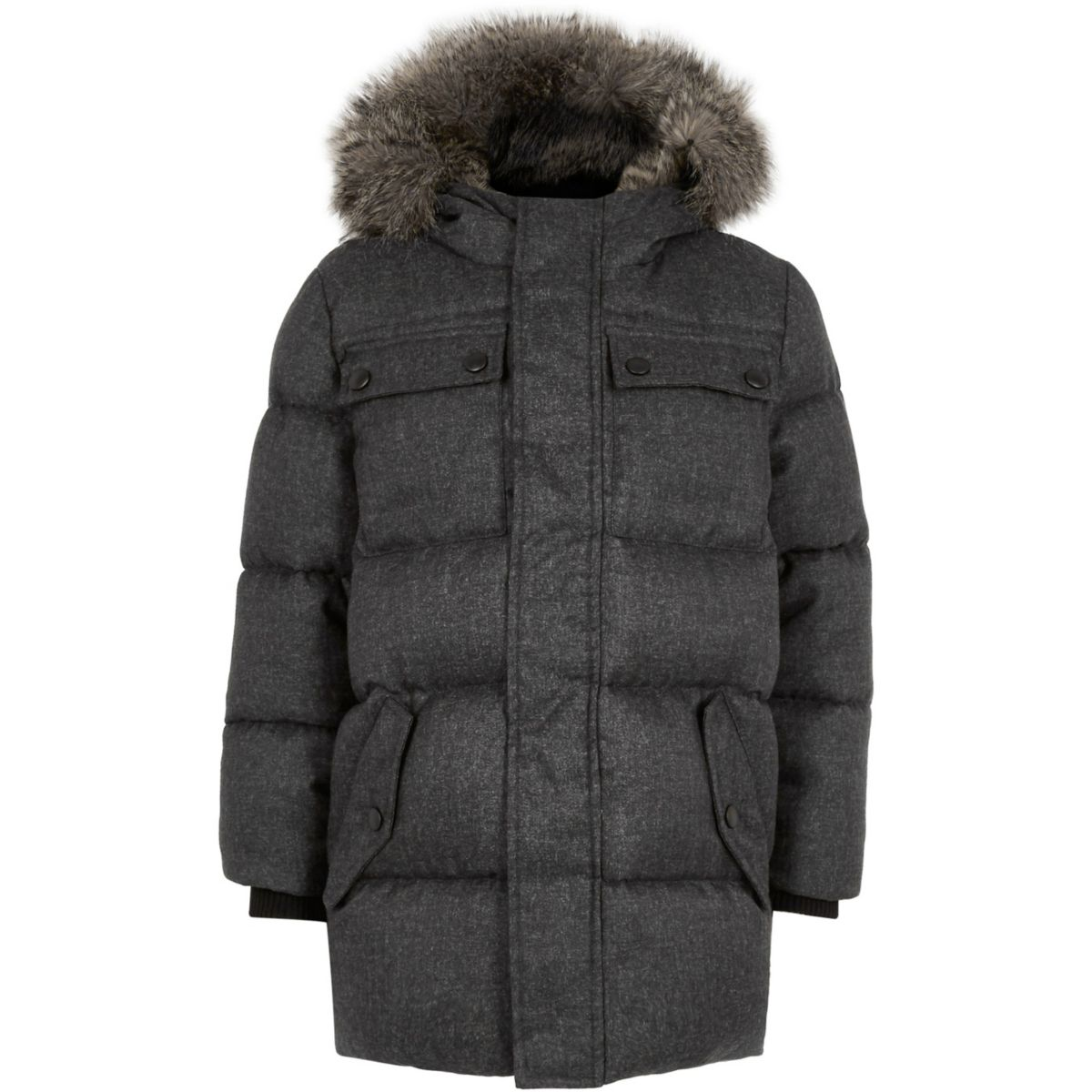 Boys grey faux fur hood puffer coat - Coats - Coats