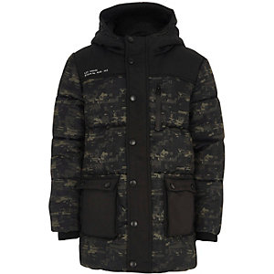 Boys khaki geo camo print puffer coat
