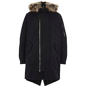 Boys navy faux fur lined hood parka coat