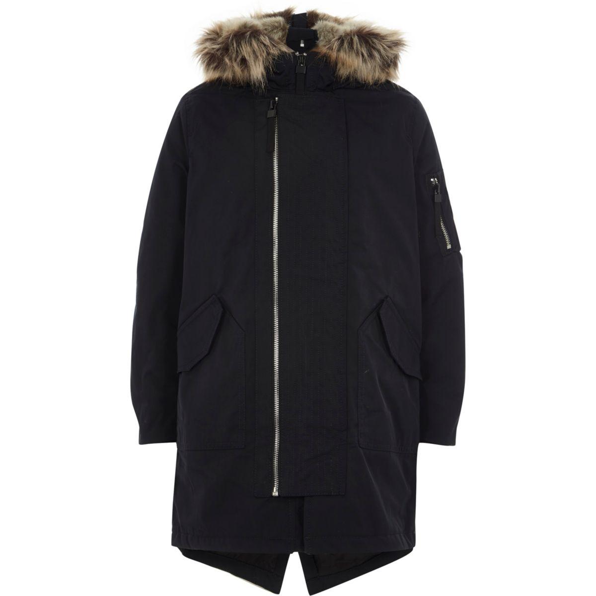 Boys Navy Faux Fur Lined Hood Parka Coat Coats Amp Jackets
