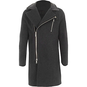 Boys grey wool blend funnel neck coat