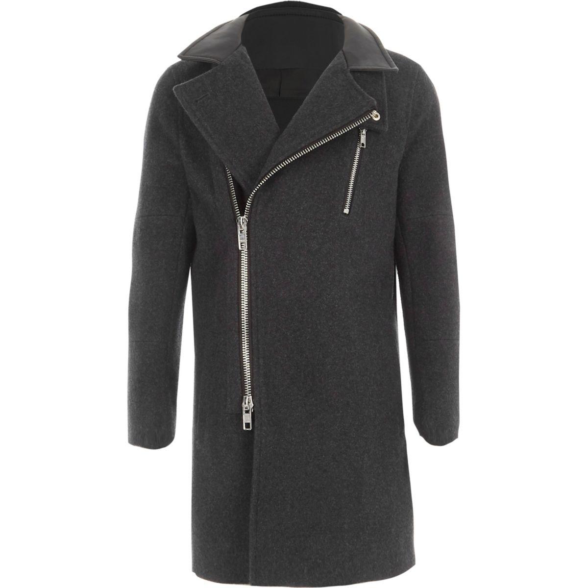 Boys grey wool blend funnel neck coat