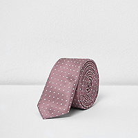 Boys pink polka dot slim tie