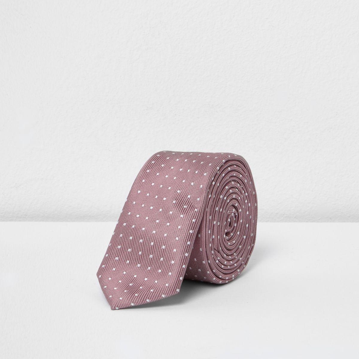 Boys pink polka dot slim tie