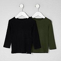 Mini boys black and khaki T-shirt multipack
