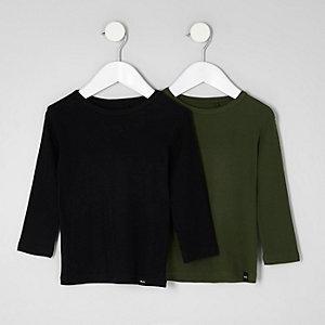 T-Shirts in Schwarz und Khaki im Multipack