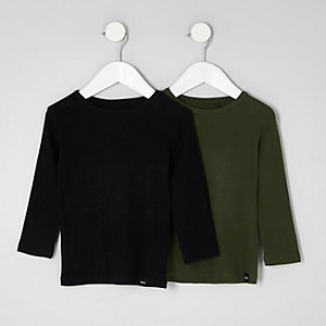 Lot de t-shirts noir et kaki mini garçon