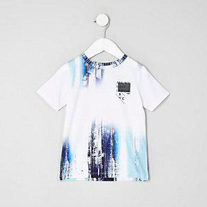 Mini boys white and blue glitch print T-shirt