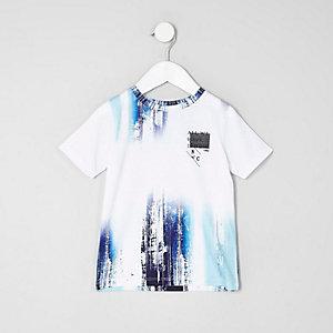 T-shirt imprimé blanc et bleu mini garçon