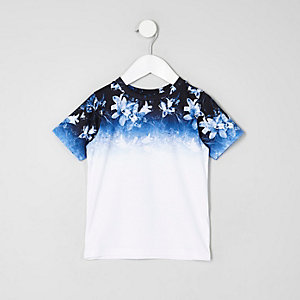 Mini boys white floral ombre print T-shirt