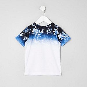 T-shirt imprimé dégradé à fleurs blanc mini garçon
