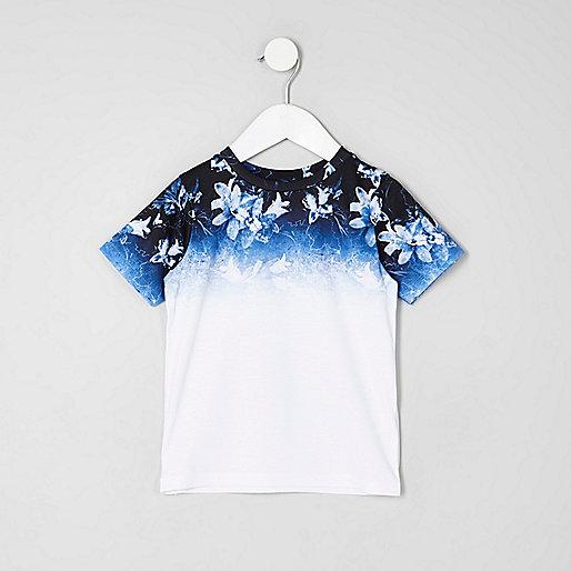 Mini boys white floral ombre print T-shirt