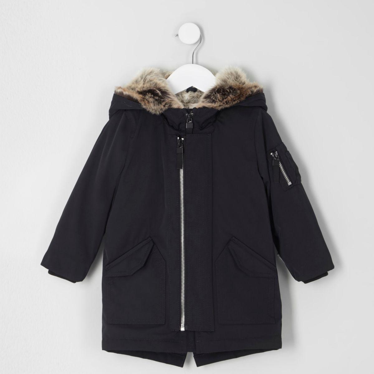Mini boys navy luxe faux fur hood parka