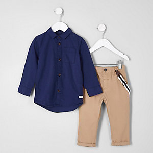 Mini boys navy shirt and suspenders chinos outfit