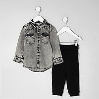 Mini boys grey acid wash denim shirt outfit