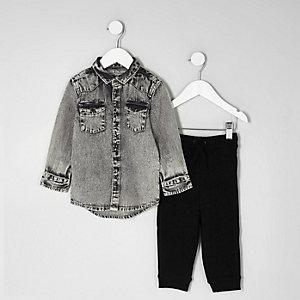 Mini - Outfit met grijze acid wash denim overhemd voor jongens