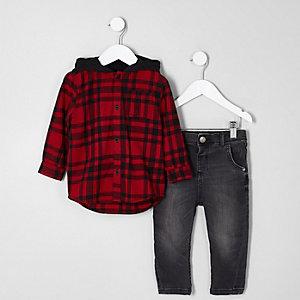 Ensemble avec chemise à capuche à carreaux rouge mini garçon