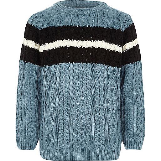 Boys blue cable knit stripe jumper