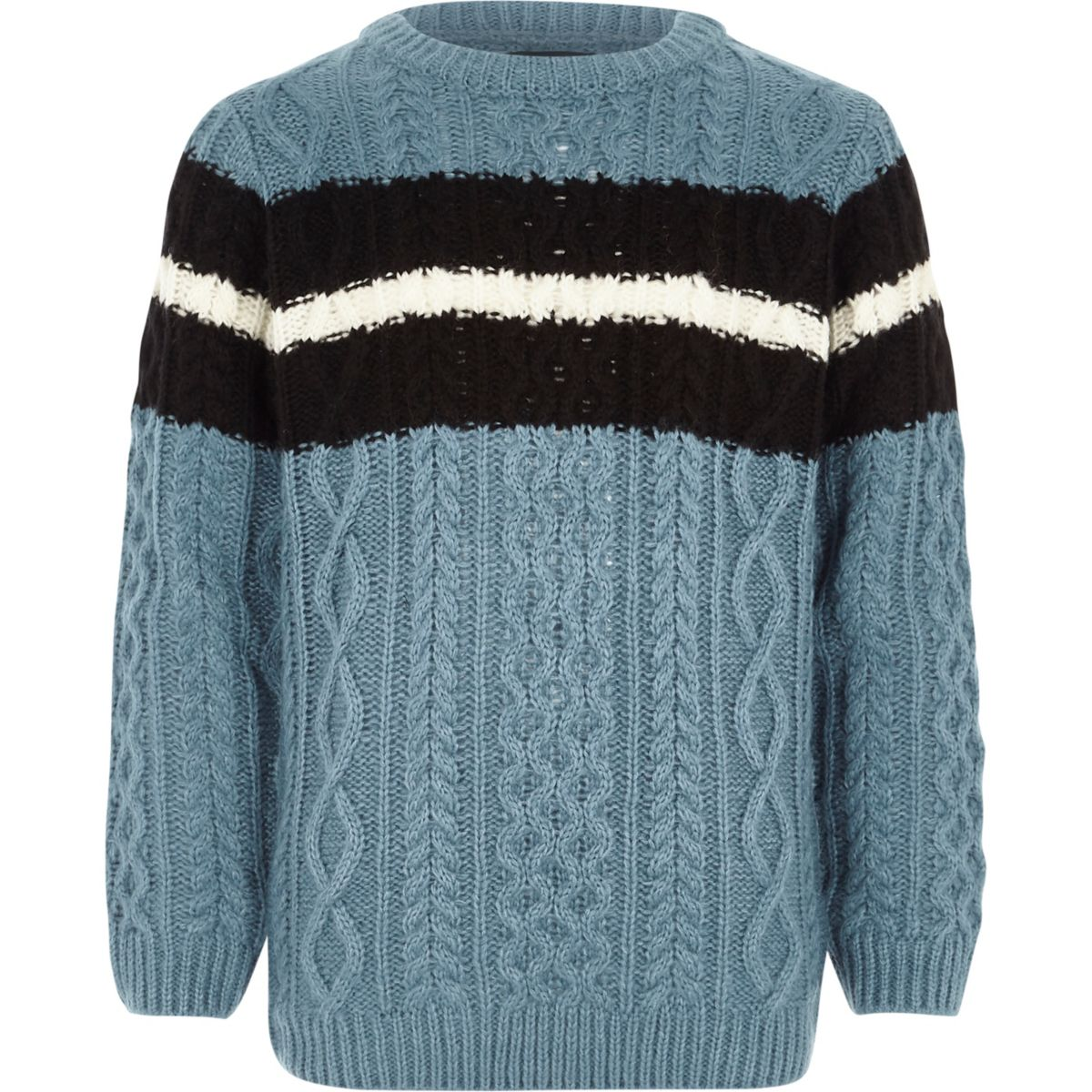 Boys blue cable knit stripe sweater