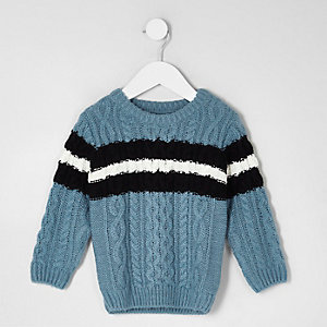 Mini boys blue cable knit stripe sweater