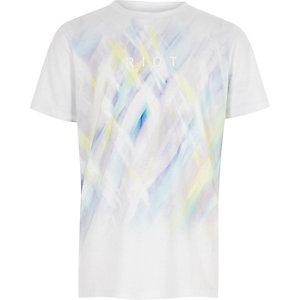 T-shirt blanc imprimé «riot» fluo délavé pour garçon