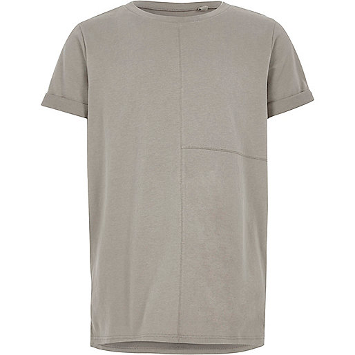 Boys grey seam detail T-shirt