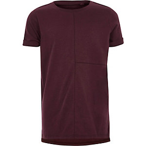 Boys burgundy seam detail T-shirt