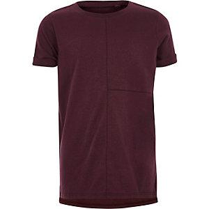T-shirt bordeaux à coutures apparentes garçon