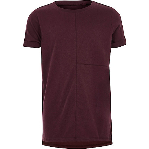 Boys burgundy seam detail T-shirt