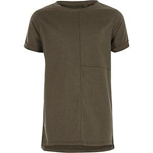 T-shirt kaki à coutures apparentes garçon