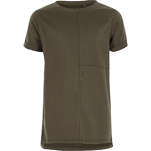 Boys khaki seam detail T-shirt