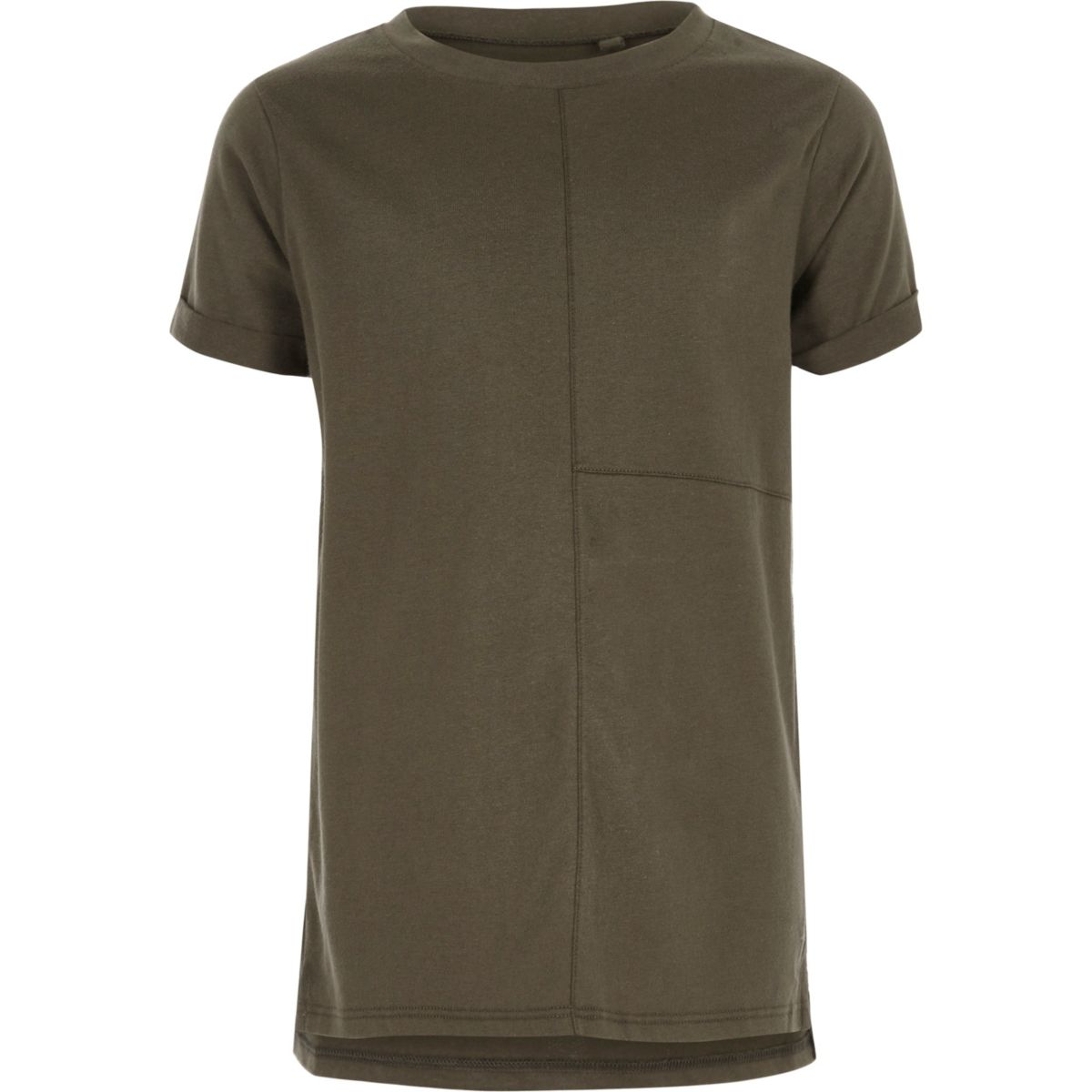 Boys khaki seam detail T-shirt