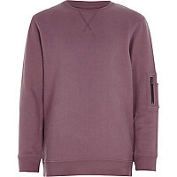 Boys pink marl zip pocket sweatshirt