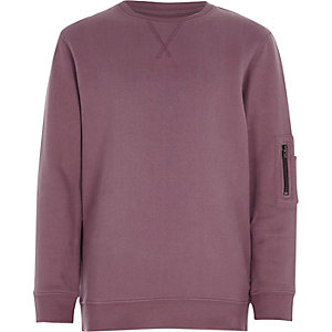 Boys pink marl zip pocket sweatshirt