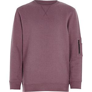 Roze gemêleerd sweatshirt met ritszakken voor jongens