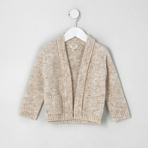 Mini boys light brown elbow patch cardigan