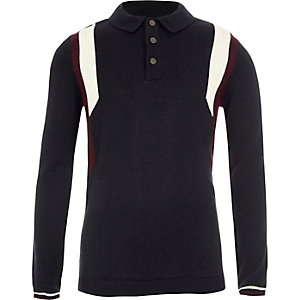 Boys navy long sleeve blocked knit polo shirt