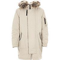 Boys stone faux fur lined hood parka coat