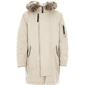 Boys stone faux fur hood parka coat