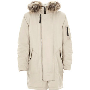 Boys stone faux fur lined hood parka coat