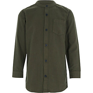 Boys khaki stripe grandad shirt