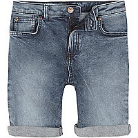 Boys mid blue Dylan slim fit denim shorts