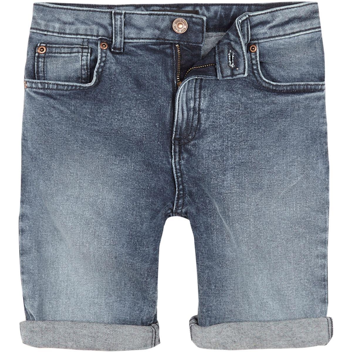 Boys mid blue Dylan slim fit denim shorts