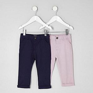 Mini - Multipack met roze en marineblauwe chino's voor jongens