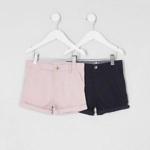 Mini - Multipack roze en marineblauwe chinoshort voor jongens