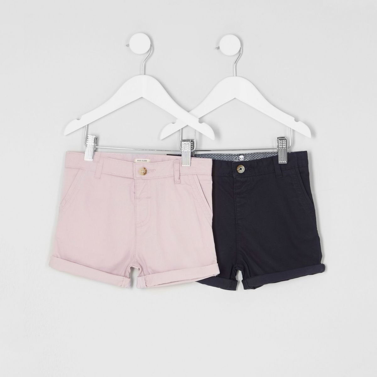 Mini boys pink navy chino shorts multipack