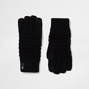 Schwarze Touchscreen-Handschuhe mit Waffelstruktur