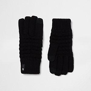 Zwarte touchscreen-handschoenen met wafeldessin voor jongens