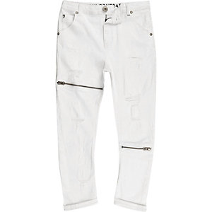 Kids white RI Studio ripped slouch jeans
