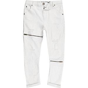 RI Studio - Tony - Witte ripped ruimvallende jeans voor kinderen